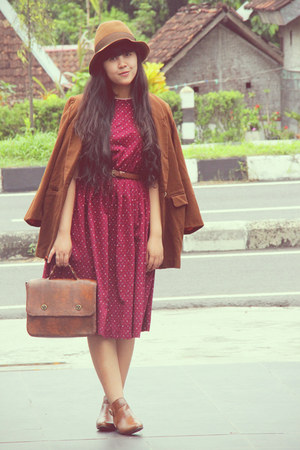 brown asos boots - maroon floral vintage dress - brown floppy Pull &amp; Bear hat