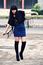 Black-bloop-relaxing-top-blue-solemio-skirt-black-vintage-wilsons-jacket-b