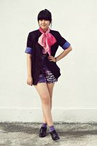 black Topshop blazer - purple Miss Selfridge suit - pink gift from Dad bracelet