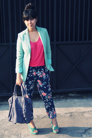 navy tapered floral Primark pants - aquamarine boyfriend vintage blazer