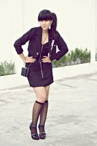 black Thrift Store blazer - black Miss Selfridge dress - black sox gallery socks