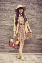 light brown Choies dress - camel Oasis hat - brown tiny dot suede vintage blazer