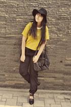 black milanoo boots - black Topshop hat - black dolly croc flap new look bag