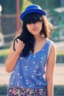 Blue-zara-top-blue-daisy-days-shorts-blue-local-store-hat-blue-topshop-sho