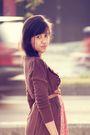 Brown-dloops-cardigan-pink-local-boutique-dress-brown-vintage-belt-topshop