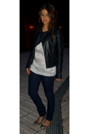 black Topshop jacket - white Massimo Dutti blouse - blue abercrombie and fitch j