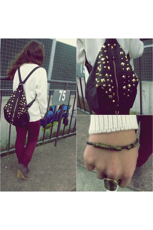 black studded asoscom bag - crimson Zara jeans - ivory wool vintage cardigan