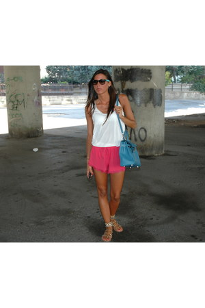 red asos shorts - teal Hermes bag