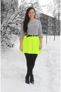 Yellow-neon-topshop-skirt-navy-striped-h-m-t-shirt-silver-vintage-belt