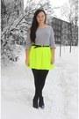 Yellow-neon-topshop-skirt-navy-striped-h-m-t-shirt-silver-vintage-belt