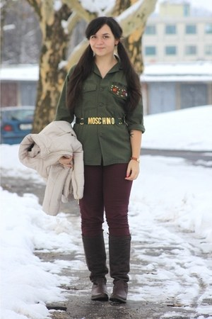 army green Moschino belt - army green DIY jacket
