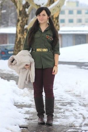 army green Moschino belt - army green DIY jacket