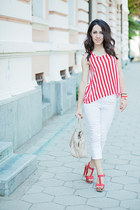 white Stradivarius jeans - red striped H&M top - Michael Kors watch