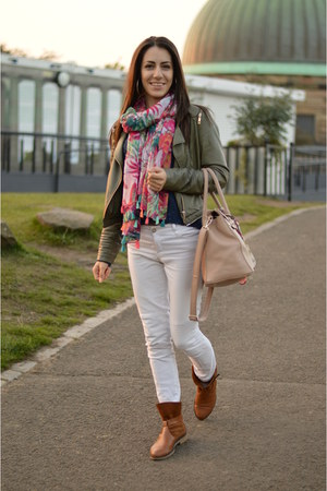 white Stradivarius jeans - tawny rock accent boots - olive green leather jacket