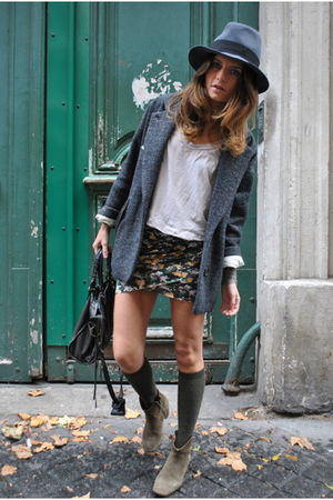 gray Isabel Marant coat - green Isabel Marant boots - gray Maison Michel hat