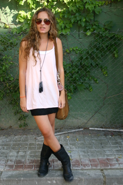 pink no brand blouse - black new look skirt - black Marypaz boots