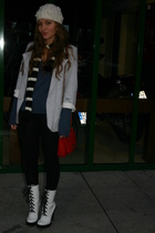 gray Primark blazer - blue sweater - black BLANCO leggings - white Mango boots -