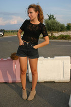 black vintage shorts - camel Pimkie boots - black vintage top