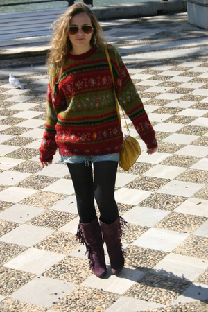 purple Marypaz boots - red vintage sweater - gold Stradivarius accessories