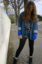 blue vintage jacket - blue Primark shirt - blue DIY shorts - black vintage boots
