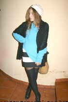 blue vintage sweater - black Newlook skirt - white Zara accessories - black Calc