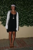 black Lefties dress - brown LaRedoute shoes - white trifted cardigan - white DIY