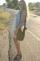 blue pull&bear vest - beige no brand dress - pink Primark sunglasses - brown car