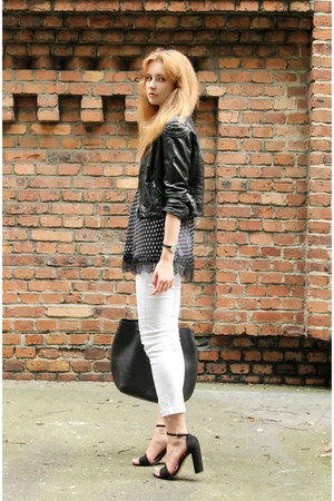 black H&M jacket - black New Yorker top - white Mango pants