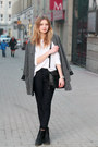 Gray-second-hand-coat-white-f-f-sweater-black-zara-bag-navy-h-m-pants