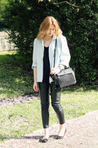 black Parfois shoes - light blue second hand jacket - dark gray Zara bag