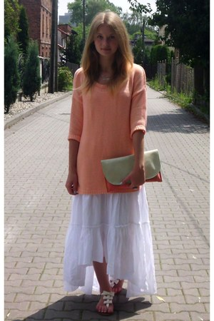 white dress - nude sweater - aquamarine bag - white sandals