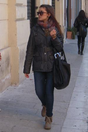 charcoal gray phard coat - blue Miss Sixty jeans