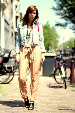 light blue denim H&amp;M jacket - camel harem H&amp;M pants - white polka dots H&amp;M blous