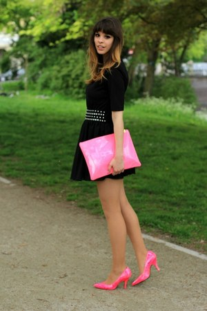 black Monki shirt - bubble gum Bershka bag - black studded Miss Selfridge belt