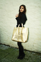 black Burberry coat - ivory silk Zara shirt - gold YSL bag - silver silk Zara sk