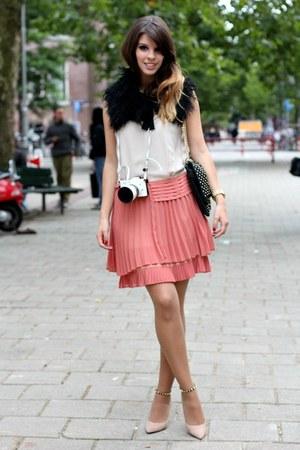 light pink Zara heels - peach Max & Co dress - black Massimo Dutti scarf