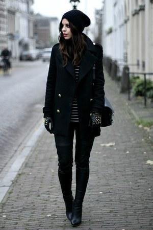 black Zara coat - black PROENZA SCHOULER bag - black leather pants