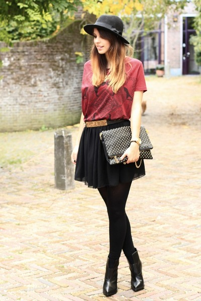 brick red Zara shirt - black studded Zara bag - black American Apparel skirt