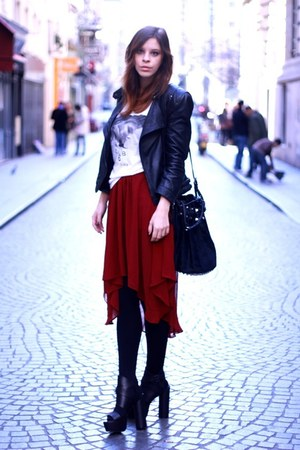 chiffon Bershka skirt - leather Zara jacket - H&amp;M shirt - Alexander Wang bag