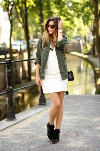 army green Topshop jacket - white Massimo Dutti dress - black Celine sunglasses