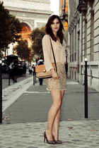 light orange sequinned Zara skirt - camel Chloe bag - nude silk Zara blouse