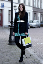 green Guess dress - black Zara blazer - light yellow Diane Von Furstenberg bag
