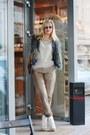 Gray-papucei-purse-beige-pnk-blouse-tan-h-m-pants-navy-hippie-shake-vest
