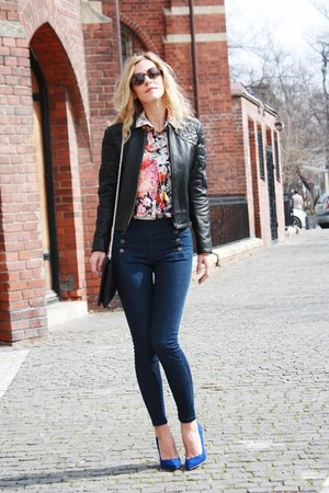 navy Zara jeans - black H&M jacket - cream Zara shirt - black Moon purse