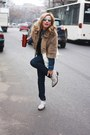Beige-h-m-jacket-white-zara-boots-navy-marc-jacobs-jeans-blue-zara-shirt