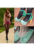 aquamarine Jeffrey Campbell heels - crimson colorblock H&M shorts