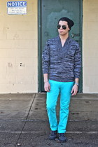 turquoise blue Levis jeans - dark gray H&M sweater - Topshop sunglasses