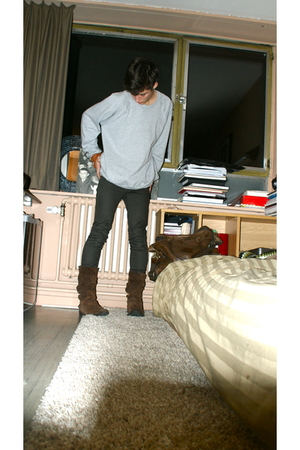 brown allsaints pants - silver American Apparel sweater - brown Diesel boots