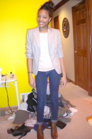 beige Limited blazer - peach Forever 21 top - burnt orange elle heels