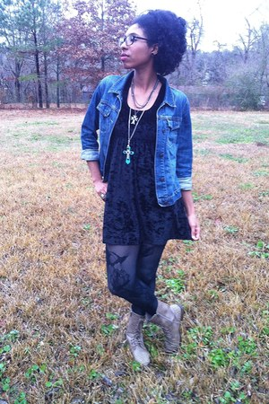 black velvet Rue 21 dress - dark khaki studded Madden Girl boots